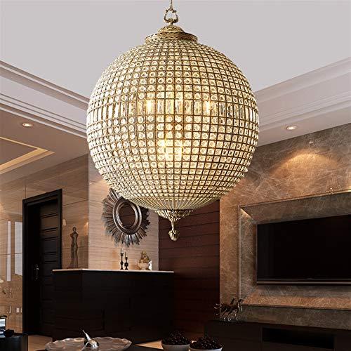 BINGFANG-W Small Globe Crystal Brass Chandelier Antique Sphere Copper Hanging Lights 1 Light Bronze Kitchen Dining Room Chandeliers Vintage (Number of Lights : D65 H70CM E14X5)
