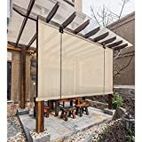 GAXQFEI Shade Blinds, Filter Shade <span class='highlight'><span class='highlight'>Sn</span></span>, Exterior Roller Curtains for Balcony, Privacy Protection Sun Protection,Beige,50 * 100Cm