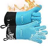 Loveuing Grillhandschuhe – Doppelschicht Backhandschuhe aus Silikon und Baumwolle - Hitzebeständige Handschuhe/Ofenhandschuhe/Kochhandschuhe/Flexible Küchenhandschuhe - Perfekt zum BBQ Backen