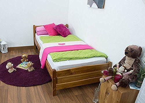 Kinderbett   Jugendbett Kiefer Vollholz massiv Eichefarben A15, inkl. Lattenrost - Abmessung 90 x 200 cm