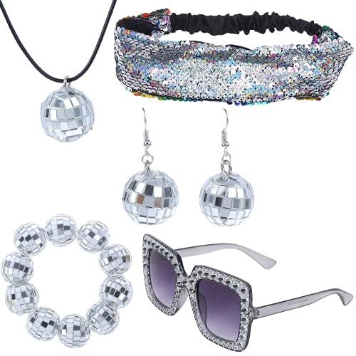 Vergissmeinnicht 5 Stück Discokugel Spiegelkugel Party Ohrringe Halskette Set, Metallische Discokugel Weiß Halskette Armband Damen Glitzer Haarbänder Pailletten Stirnband Diamant Sonnenbrille