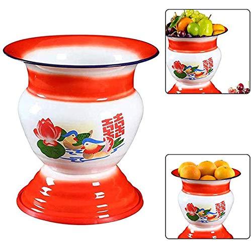 YRDZ Cesta De Frutas Esmalte Antiguo Tradicional Chino Frutas Y Verduras Cubo De Hielo De Metal para Vino Cocina Mesa De Comedor Decoración Cuenco Esmaltado
