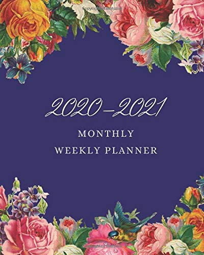 """2020-2021 Monthly Weekly Planner: 2 Year Calendar January 2020 December 2021 Daily Organizer With Federal Holidays Internet Password Log Phone Book Handy Size 8"""" x 10"""" Floral Cover"""