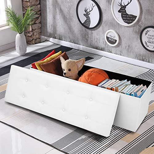 COSTWAY Sitzbank bis 300kg belastbar, Sitzbox Sitzwürfel Bank faltbar, Sitzkasten Polsterhocker Truhe, Sitztruhe PVC-Leder, Aufbewahrungsbox 114 x 38 x 38cm (Weiß) - 5