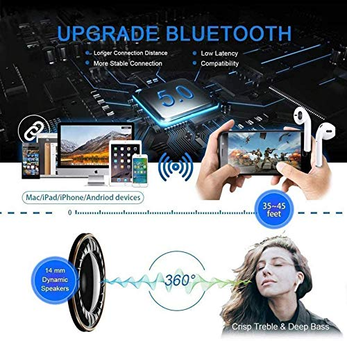 Auriculares inalámbricos Bluetooth 5.0,Control táctil, IPX7 reducción del Ruido estéreo 3D HD, con micrófono y Estuche de Carga portátil para Todos Bluetooth de Android/iPhone/Samsung miniatura