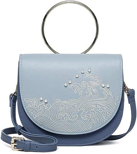 HQQ, Style Wave, Sac à Main en métal, Sacoche de Selle, Sac Femme Skew, Brodé, Bleu Clair