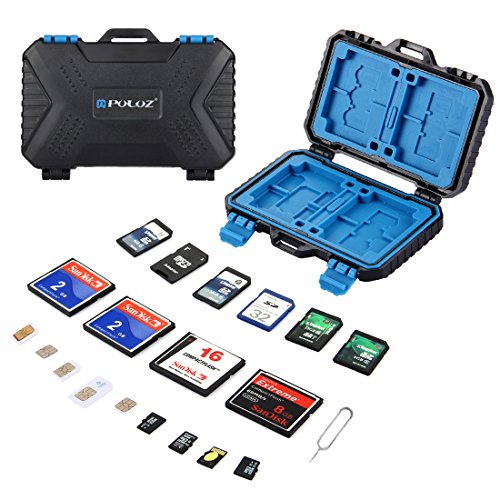 Camkiy Memory Card Holder Case SD/CF/MSD/TF/Micro SIM Card Storage Case Camera Cartridge Waterproof and Anti-Shock Box