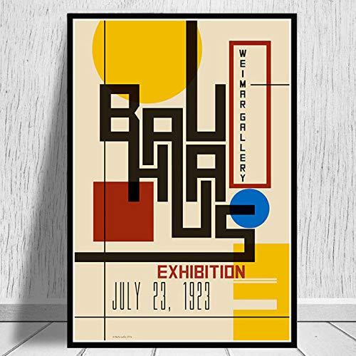 JYWDZSH Leinwanddruck Plakate Und Drucke Bauhaus Ausstellung Weimer Ausstellung Plakat Wandkunst Bild Leinwandmalerei Für Raum Wohnkultur, Wie Abgebildet, 60X80Cm Ohne Rahmen