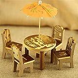 AZXAZ Miniatur Tisch Stuhl Set Fee Holzmöbel Mini Dollhouse Garden Decor mit Regenschirm Für 1:12...
