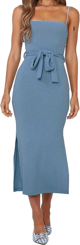 EXLURA Womens Spaghetti Strap Bodycon Midi Dress Side Slit Backless Waist Tie Ribbed Cami Dresses