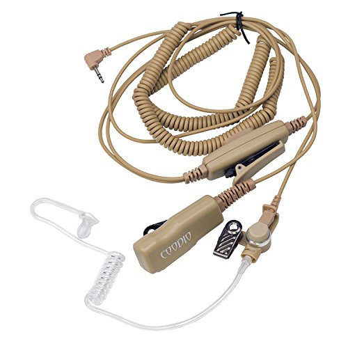 Beige Coodio Superior Surveillance Earpiece Security Headset [Double PTT] Bodyguard FBI [Covert Acoustic Tube] Mic Microphone for 1 Pin Motorola Talkabout 2 Way Radio Walkie Talkie