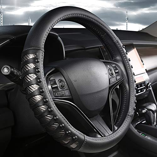 West Llama Auto Lenkrad Abdeckung mit Ledernägeln Anti-Rutsch-Design, Lenkradhülle 15 Zoll Universal Fit - Silber