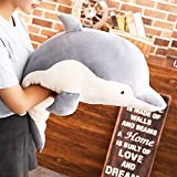 Levenkeness Dolphin Plush Hugging Pillow, Soft Large Dolphins Stuffed Animal Toy Doll Gifts for Kids, Valentine, Christmas, Bedding (23.6')