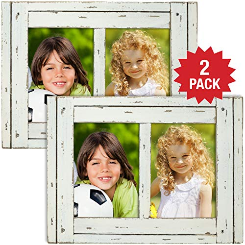 Excello Global Products Rustic Shabby Chic White Weathered Distressed Vintage Style Wooden Picture Frame with Self-Stand Easel, Each Frame Holds Two 5'x7' Photos (Pack of 2)
