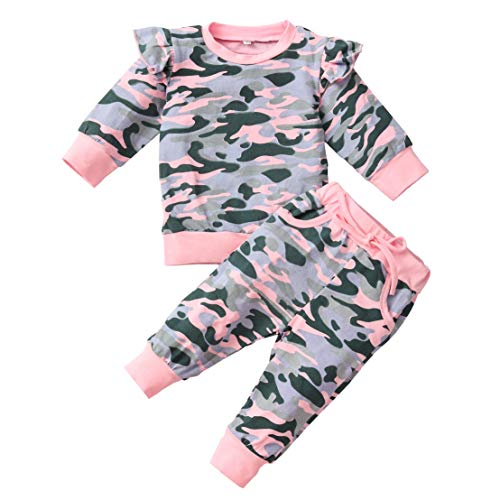 Toddler Baby Girl Clothes Ruffle Sleeve Camouflage Shirt Top Pant Set Infant Fall Winter Outfits 0-6 Months