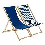 Harbour Housewares Traditional Adjustable Beach Garden Deck Chairs - Navy/Stripe