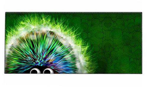 Silent Monsters Mauspad Größe XXL (900 x 400 mm) Mousepad Groß Design: Green Hedgehog - Vernähter Rand geeignet für Office und Gaming Maus sowie Tastatur