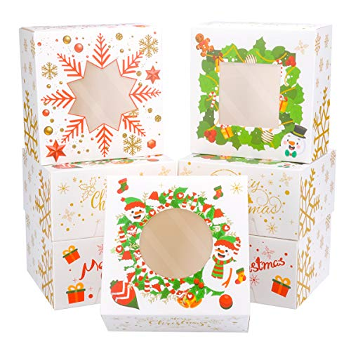 24 PACK Christmas Bakery Boxes with Window Cookie Boxes for Gift Giving 6x6x3 inch by NPLUX (White)