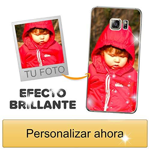 Funda móvil Personalizada con Efecto Brillante para Samsung Galaxy S6 Edge Plus con Tu Foto, Imagen o Frase - Funda Blanda en TPU Gel Transparente - Impresión de máxima Calidad