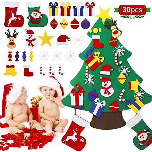 EXTSUD Filz Weihnachtsbaum, DIY Weihnachtsbaum Set Edition 28 PCS Ornamente Wand Dekor Dekoration Für Kinder Weihnachten Geschenk Home Tür Wand Dekoration