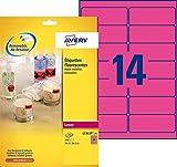 AVERY - Pochette de 350 étiquettes autocollantes roses fluo, Personnalisables et imprimables,...