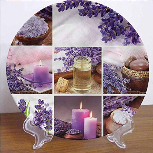 Channing Southey 8 Inch Spa Ceramic Dinner Plate,Lavender Garden with Candles Round Porcelain Ceramic Plate Microwave & Dishwasher Safe Decor Accessory for Party Kitchen Home Decor