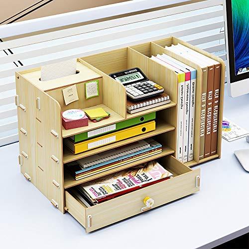 Escritorio Caja de almacenamiento de archivo cajón de gran capacidad Plataforma documento de información de escritorio estante de madera Organizador de escritorio Muestra de bastidores de oficina