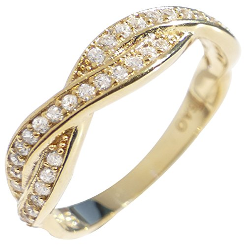 Ah! Jewellery Genuine Yellow Gold Vermeil Over Sterling Silver Braided Ring Band. Finished With Simulated Diamonds. 2.30gr Total Weight. Stamped 925.