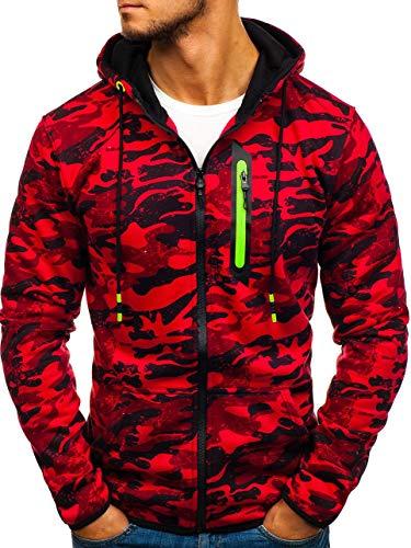 BOLF Herren Sweatshirt mit Kapuze Pullover Camo Muster Army Militär J.Style DD99-2 Rot M [1A1]