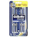 Gillette Blue3 Hybrid Lames de Rasoir Homme + 13 Lames de Recharge [OFFICIEL]