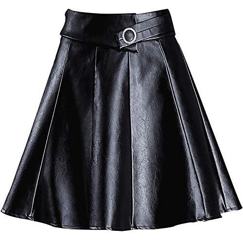 Dames Leren A-lijn Korte Rok Hoge Taille Grote Maat Plissé Mini Rok XXXXL Zwart