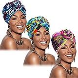 3 Piezas Turbantes Africanos para Mujer Gorro de Nudo Preatado Envoltura de Cabeza Gorra (Negro, Azul, Caqui)
