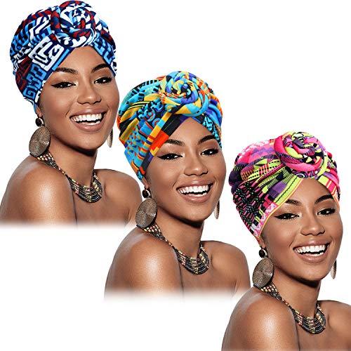 3 Pièces Turban Africain pour Femmes Bonnet Noué Pré-Noué Headwrap Bonnet (Géométrie Bleu Vert Rose)
