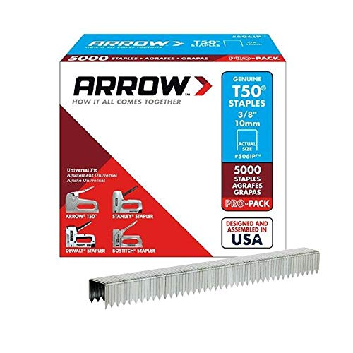 Arrow Fastener T50 506IP Grapas de acero de corona plana de 0,95 cm | Pro-Pack | 5000 cada caja