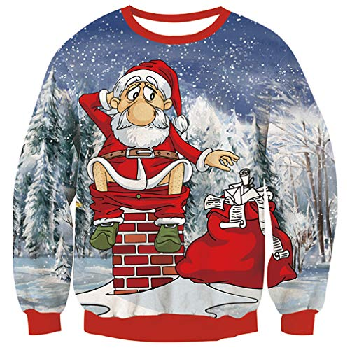 TUONROAD Very Ugly Christmas Sweatshirt for Ladies Guys Tacky Novelty Xmas Sweaters Hilarious Santa Sit on Chimney Long Sleeve Crew Neck Pullover T-Shirt