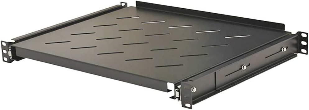 NavePoint Sliding Rack Vented Server Shelf 1U 19 Inch 4 Post Rack Mount 13.75 Inches (350mm) Deep Set of 2 Black