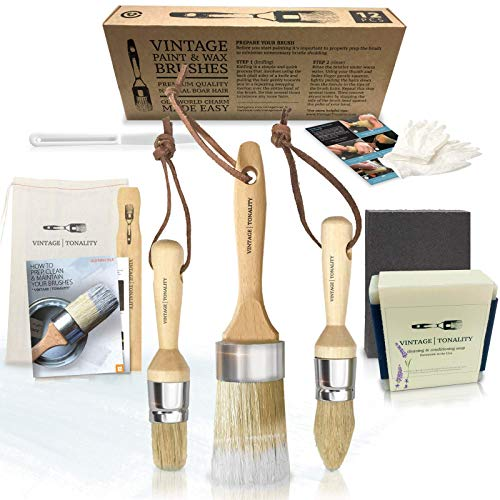Vintage Tonality Pro Chalk & Wax Brush Set for Painting Furniture, 3 Paint Brushes, Works with...