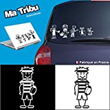 Ma Tribu autocollants Stickers Famille Voiture - Adolescent Garçon Rugby (Blanc)