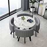 Dining Table Set - 5 Piece Round Dining Set with 4 Chairs Dining Table Set for Small Spaces Kitchen Table and Chairs Dining Room Table Modern Home or Restaurant (White Table + Gray Chair)