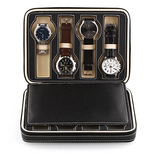 Amzdeal Black Eight 8 Slot Zippered Traveler's Watch Bracelet Bangle Box...