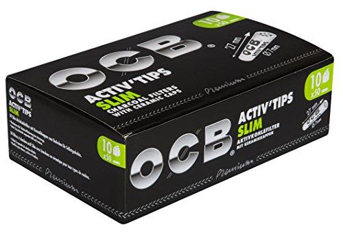 OCB ActivTips Slim 7 mm-Aktivkohlefilter mit Keramikkappen-10 x 50 Stück, Silber, smal