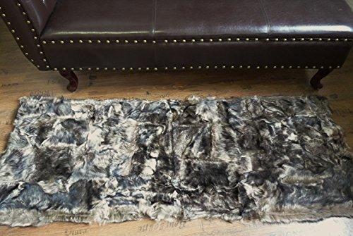 DESIGN PATCHWORK FELL LÄUFER TEPPICH IN GRAU - BRAUN 160x60cm PL-201