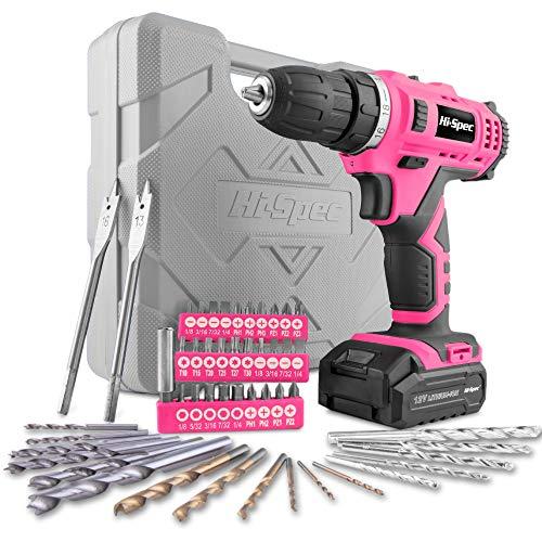 Hi-Spec 50-teiliges Akkubohrmaschinenset mit 12V Bohrer in Pink Rosa und den gebräuchlisten Holz, Metal und Steinbohraufsätzen in in praktischer Box für die Frau im Haus …