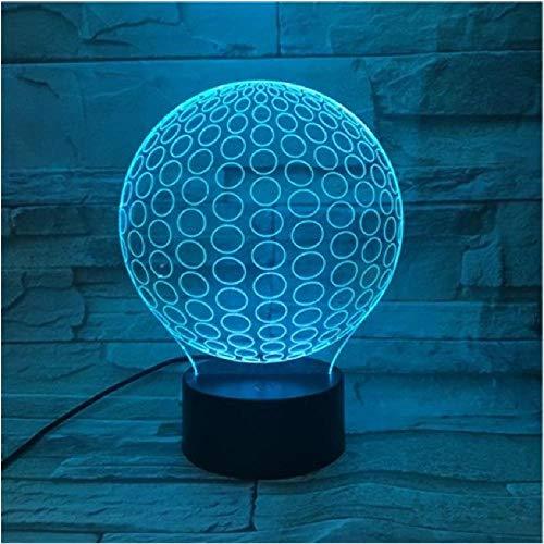Lámpara 3D con forma de bola circular, luz nocturna, bola circular multicolor, novela de golf, escritorio acrílico, dormitorio, decoraciones para la cabecera