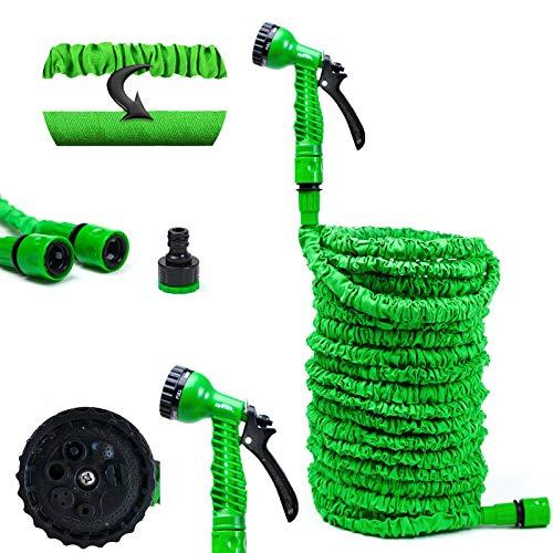 Grafner Flexischlauch Basic, 15 Meter, mit Multifunktionsbrause, stabiler Latexkern, KEIN PLATZEN, massive Ausführung, grün flexibler Gartenschlauch flexi Schlauch dehnbar