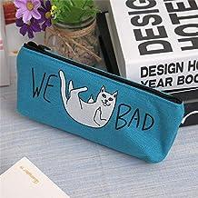 猫 ペンケース ねこ 筆箱 猫 文房具入れ ポーチ 小物入れ やんちゃな猫ちゃん (ブルー)