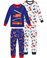 shelry Pajamas for Boys Children Fire Trucks Clothes Christmas Kids 4 Pieces Pants Set Baby PJs 2t