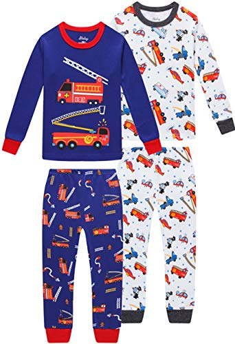 shelry Pajamas for Boys Children Fire Trucks Clothes Christmas Kids 4 Pieces Pants Set Baby PJs 10t