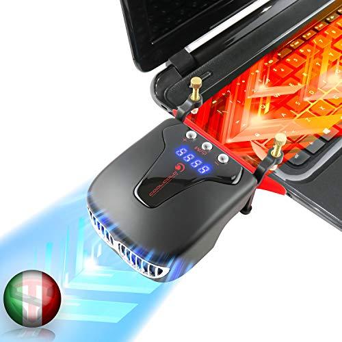 TECHSIDE Dispositivo Raffreddante Sottovuoto Rapido Per Notebook | Ice 4 Radiator | Raffreddamento Veloce Alte Prestazioni |Rileva Temp + Autoregola | Dissipatore Di Calore Laptop Pc Portatile
