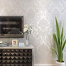 Liebe Tapete Modern 3D Floral Wallpaper Non-Woven Self-Adhesive Wallpaper Romeo Damask Pattern Wallpape,White
